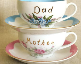 Vintage Lefton Coffee Cup, Mother and Dad, Oversized, Tea Cup, Devotional, Fine China, Pair, Set,Mid-Century,Floral Motif,Flower Design,Pink