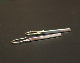 Minimalist Slim Bar Silver Earrings