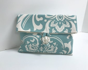 Blue Damask Osborne Clutch