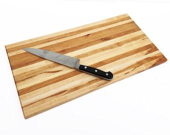 "Handmade Wood Cutting Board - Large Maple and Cherry Wood Board - 21"" x 11"" x 7/8"""