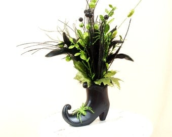 Black Witch Boot, Halloween Decor, Black and Green, Halloween Boot, Witch Decor, Table Decoration, Halloween Mantel, Centerpiece