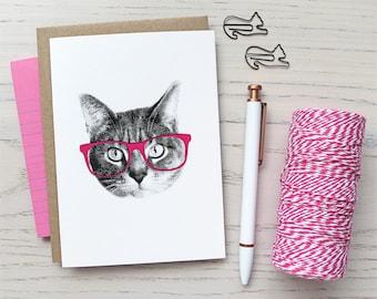 gee whiskers series: pink nerd cat greeting card