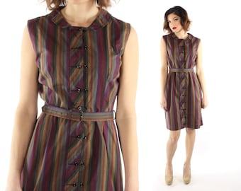 Vintage 60s Day Dress Sleeveless Button Up Shirtwaist Mini Dress 1960s Plum Striped Medium M