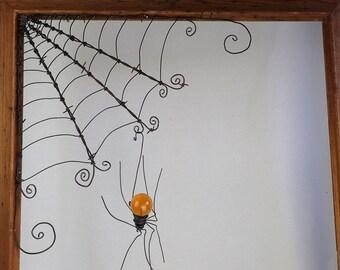 """18""""  Barbed Wire Corner Spider Web With Orange Spider"""