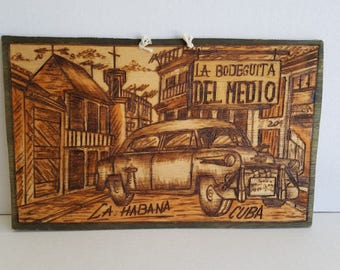 Vintage Wood Burning Souvenir Sign La Bodeguita Del Medio La Habana Cuba