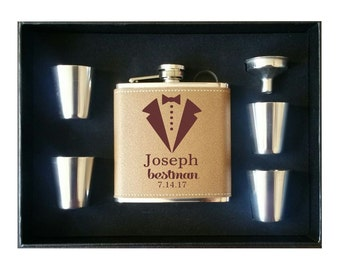 Engraved Flask with 4 Shot Glasses Gift Box and Funnel, Personalized Leather Flask, Groomsman Gift, Leather Groomsmen Flask, Custom Flask