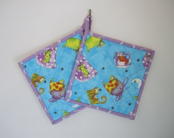 "Cat Lover's Potholders ""Fantasy Cats"" Quilted Potholder, Fabric Hotpad, Quiltsy Handmade, Fabric Trivet, Purple and Orange Cats"