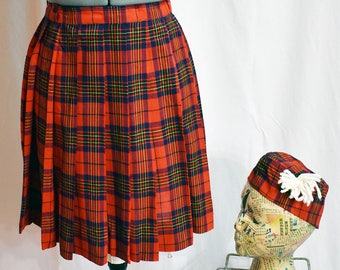 1950s Cheerleader skirt and hat red plaid
