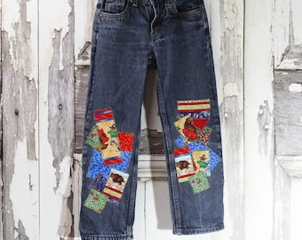 Children's Upcycled Jeans, Quilt maker's Gift Jeans, Girls Jeans, Boys Jeans, Size 7 Slim Jeans, Upcycled Denim