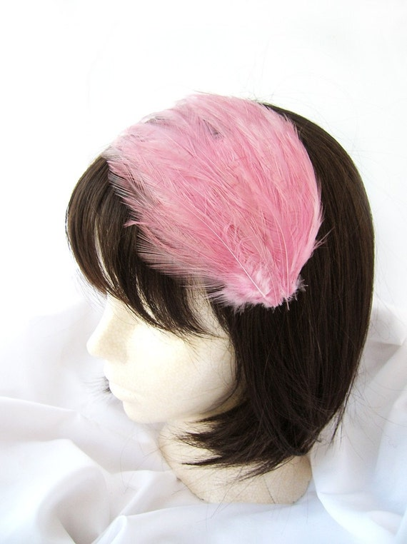Rose Pink feather fascinator blank Base 5 fastener option