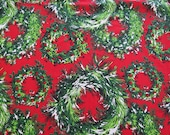 """Vintage Christmas Tablecloth - Red & Green Wreaths with Fringe - 70"""" Round - Vintage Christmas Holiday 1950s 1960s"""