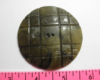Huge Celluloid Button  2.5 inches-This is a Ladies Automobile Duster button from 1910 era