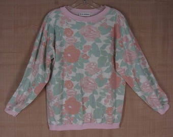 Vintage 80s Floral Sweatshirt L XL White Green Pink Mom Top France