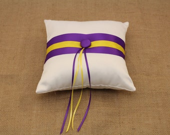 Purple, Yellow and White Wedding Ring Bearer Pillow