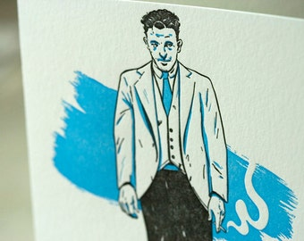 SALE - Letterpress Troublemakers Series - Skullduggery Card - 60% off