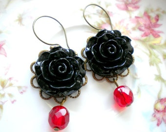 Christmas Gift For Her Red Gothic Earring Black Rose Earring Red Dangle Earrings Victorian Earring Gothic Bridesmaid Jewelry Flower Earring