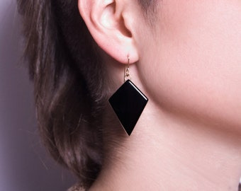 Black Inverted Glass Diamond Earrings with Gold Filled Earwire