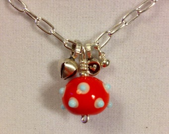 Lampworked Glass Bead BOHO Charmer on Sterling Silver