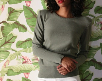 Size Small / Sonia Rykiel Sage Green Wool Sweater / Henry Bendel / Made in Italy Designer Knitwear