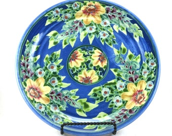 "Blue Porcelain Dinner Plate - Ceramic Serving Platter - 10"" in diameter - Floral Design"