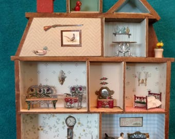 OOAK Doll House Shadow Box for the Wall, Quarter Inch Scale,Vintage Antique Mexican Soft Metal Furniture, Residents