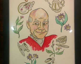 Happy Picard Day 9x12 framed painting