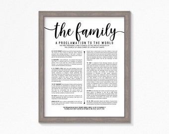 LDS Family Proclamation-Printable-Multiple Size Choices-Black Text-Digital Files-LDS Art-LDS poster printables-Mormon