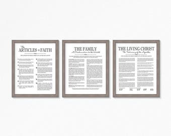 LDS-Family Proclamation-Living Christ & Articles of Faith set-Multiple Sizes available-Black Text-LDS poster printables-LDS