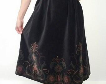 Vintage Brocade 70s BLACK Velor Midi Skirt