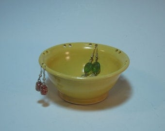 Yellow Earring Organizer and Jewelry Dish - Handmade and In Stock