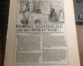 Florence Nightengale and the Crimean War 1854-1856. 1933 book page history print illustration . Art frameable history