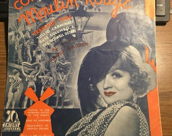 Vintage sheet music art Moulin Rouge 20th Century pictures.