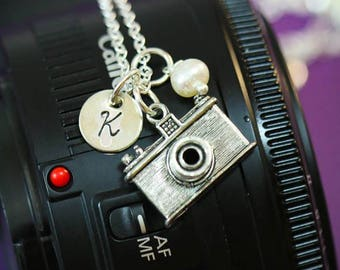 FREE SHIP • Personalized Camera Gift • Photographer Necklace Camera Little Charm Camera Dainty • Photographer Jewelry Camera Small Initial