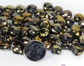 ON SALE Bronze Pyrite Beads Heart Briolettes Faceted Multicolor Briolettes Black, Bronze and Brass Coated Earth Mined - 15 Beads - 9x9mm