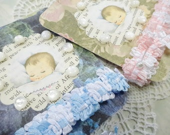 Sweet Pastel Pink Blue Novelty Ribbon Trims Crafty Baby Button Cards Lace Doily DIY Project Inspiration Lot