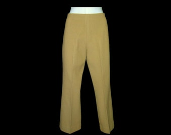 Creamy camel wool cashmere low rise pants trousers ~ Medium ~ hand home made sewn ~ beautiful fabric ~ like new ~ back zipper ~ tan beige