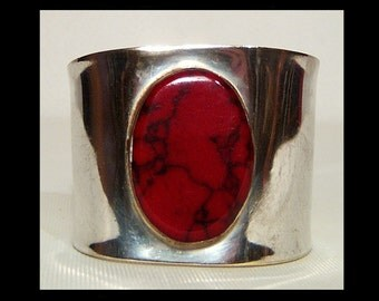 Huge wide Mexican sterling silver cuff bracelet with blood red and black jasper bezel set stone ~ .925 ~ small petite ~ made in Mexico