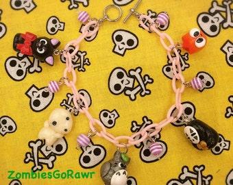 Kawaii Studio Ghibli Inspired Charm Bracelet No Face Jiji Kodama Totoro Calcifer Charm Bracelet