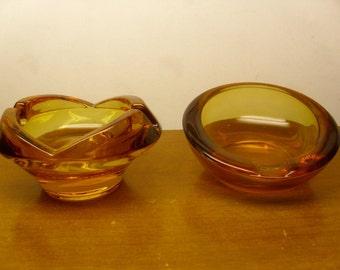 Vintage 1950's/1960's  Glass Ashtrays  Set Of 2