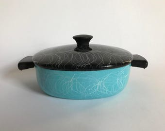 Mid Century Modern Enamelware Turquoise & Black Cooking / Baking / Casserole Pan with Lid - 1950's Drizzle Design