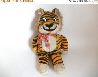 "Vintage 1960's Tiger Stuffed Animal Toy - 22.5"" tall"