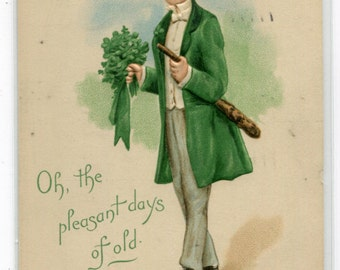 Irish Man Shamrock St Patrick's Day Greeting 1912 postcard