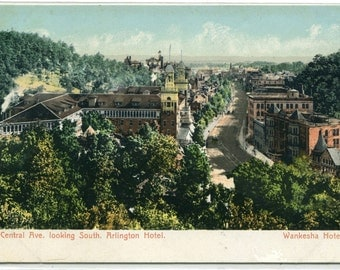 Central Avenue Arlington Wankesha Hotels Hot Springs Arkansas 1910c postcard
