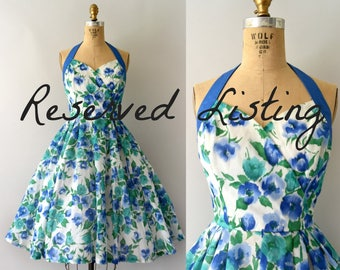 RESERVED LISTING --Vintage 1950s Sundress - 50s Tabak Blue & Green Floral Halter Neck Sun Dress