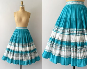 Vintage 1950s Skirt - 50s Turquoise Cotton Patio Skirt - Circle Skirt
