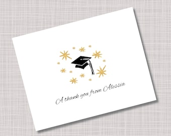 Custom Gold Stars & Cap Graduation Thank You Note Cards