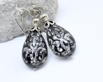 Black Lace Earrings, Teardrop Earrings, Black Drop Earrings, Antique Silver, Gothic Earrings, Bohemian Black Jewelry, Etched Lucite Earrings