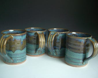 Hand thrown stoneware pottery mugs set of 4  (M-4)
