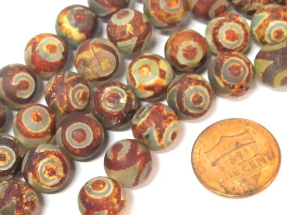 10 BEADS - Tibetan rustic brown color agate gemstone beads 10 mm size - GM315B