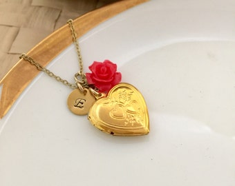 Heart Locket Necklace, Rose Necklace, Initial Necklace, Best friend Gift, Gold Locket, Gift Ideas, Handmade Necklace, Gift for Her